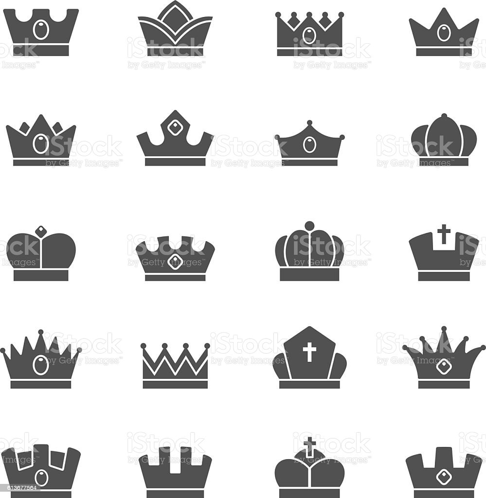 Crown Vector Solid Icons Set Stock Vector Art & More ...