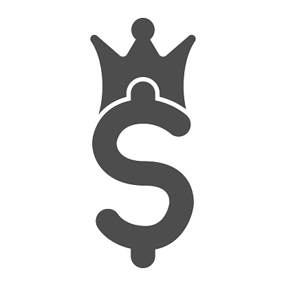Crown with dollar solid icon. Currency value, king of business symbol, glyph style pictogram on white background. Money sign for mobile concept and web design. Vector graphics.