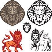 Crowned Lion heraldry set