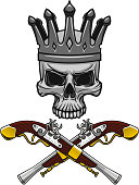 Crowned pirate skull with crossed pistols