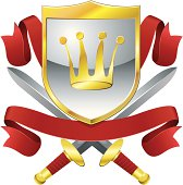 Vector Illustration of Gold and Silver crowned shield with crossed swords and scrolled banners.