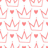 Crowns and hearts drawn by hand. Cute seamless pattern. Sketch, doodle.