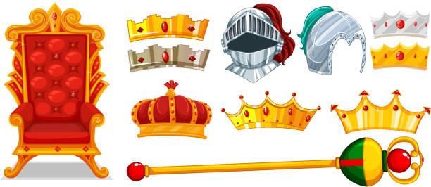 illustrations, cliparts, dessins animés et icônes de couronnes et casque de chevalier - sceptre