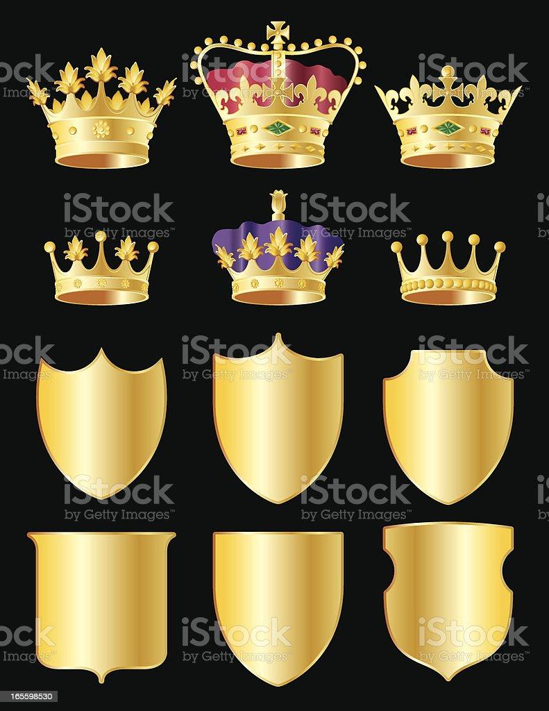 Corona y protecciones ilustración de corona y protecciones y más banco de imágenes de brillante libre de derechos