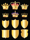 Illustrations of crowns and shields to serve as embellishments to any design, layout, promotion or web application. White (clear) background included.