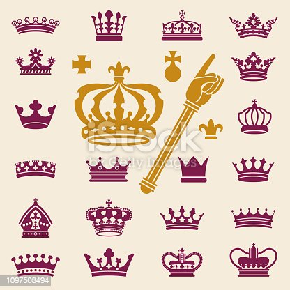 Vector Illustration of a beautiful collection of crowns
