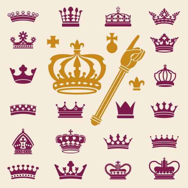 illustrations, cliparts, dessins animés et icônes de couronnes clip art collection - couronne reine