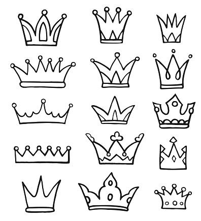 Crowns Doodles Set