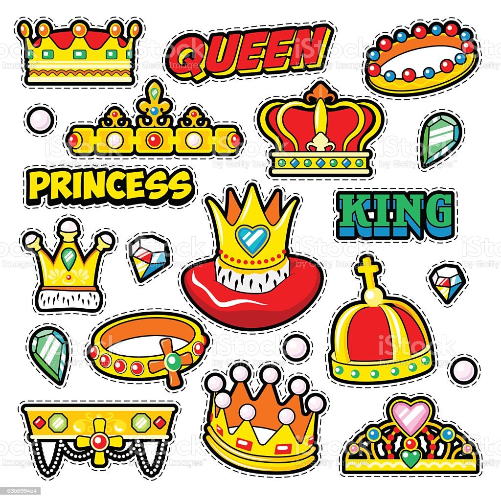 Crowns Golden Decorative Elements for Scrapbook, Stickers, Patches, Badges royalty-free crowns golden decorative elements for scrapbook stickers patches badges stock vector art & more images of abstract