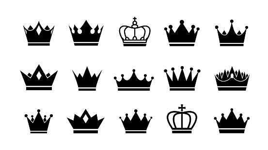 Crowns icon set. Vector crown logo collection.