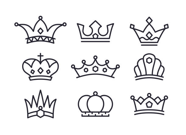 Crowns Icons and Symbols vector art illustration