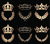 Set of six crowns in gold with laurel wreaths.