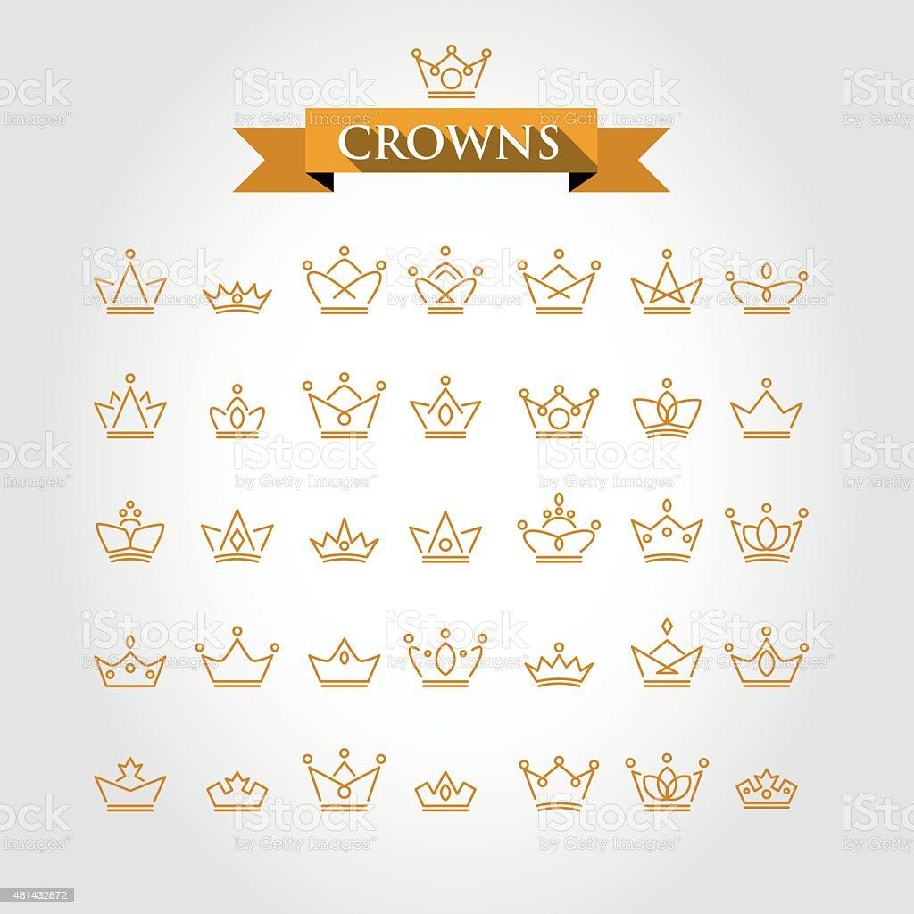 crowns vector art illustration