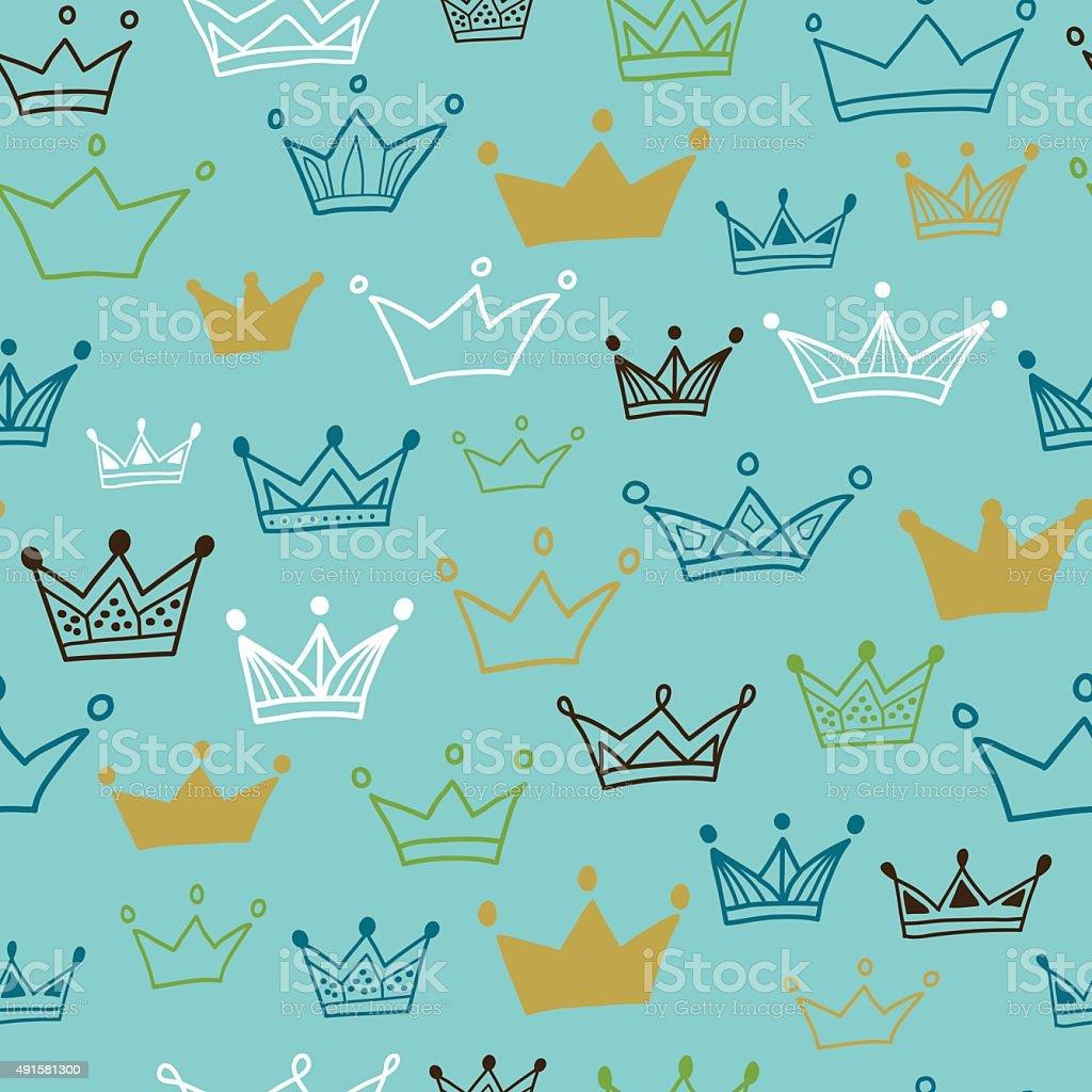 Crowns vector seamless pattern on pastel background. vector art illustration