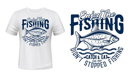 Crucian fish t-shirt print, fishing sport