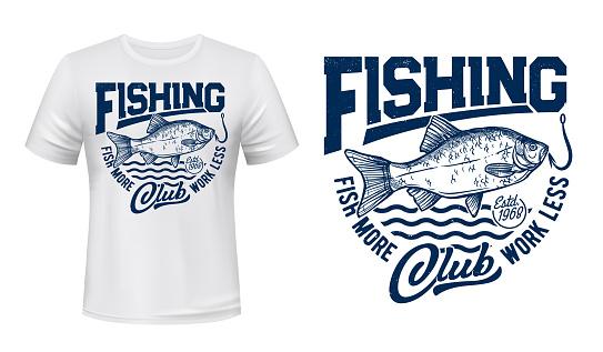 Crucian fish t-shirt print mockup, fishing, waves