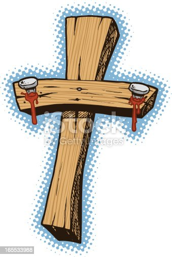 A cross with blood dripping from the nails