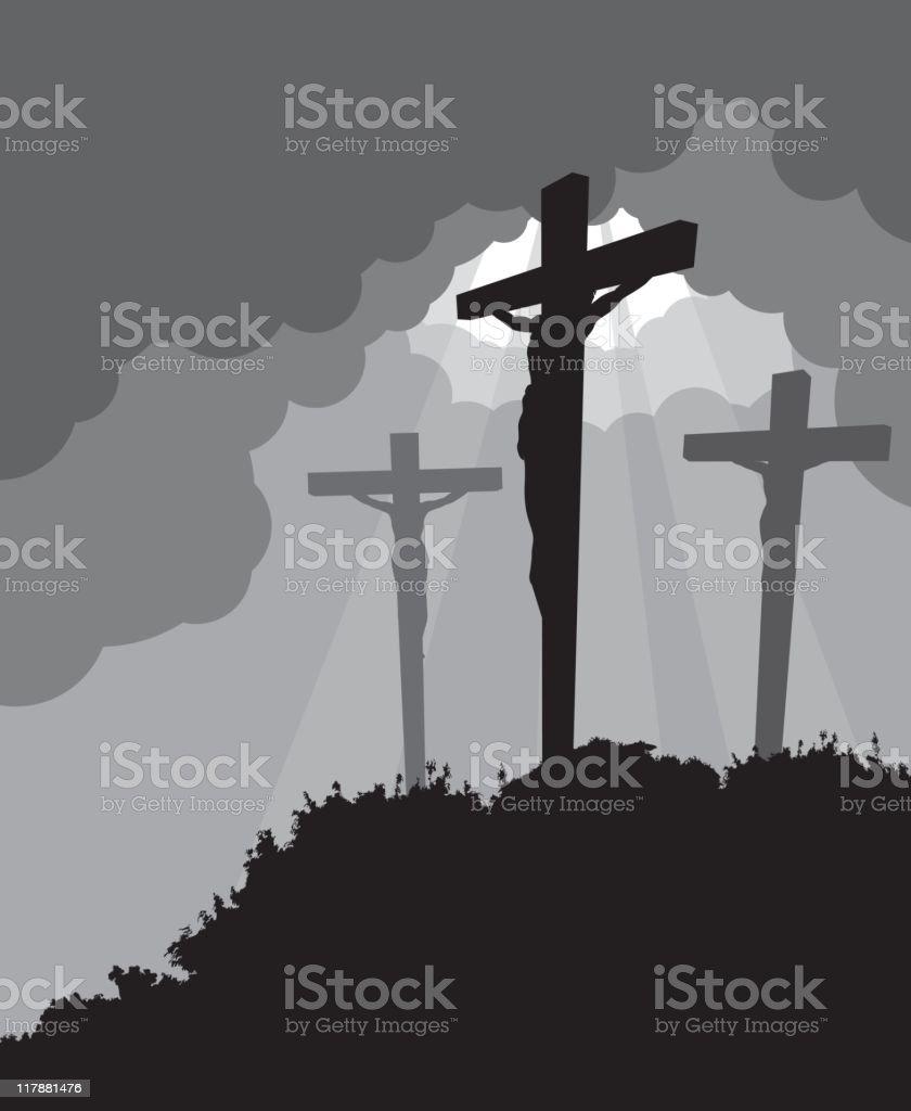 Crucifixion - Easter vector art illustration