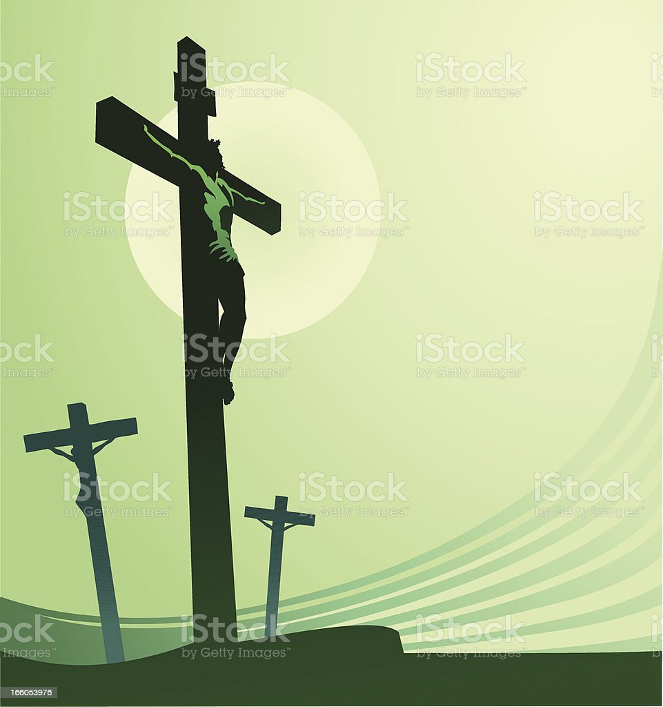 Crucifixion in Healing Green Color vector art illustration