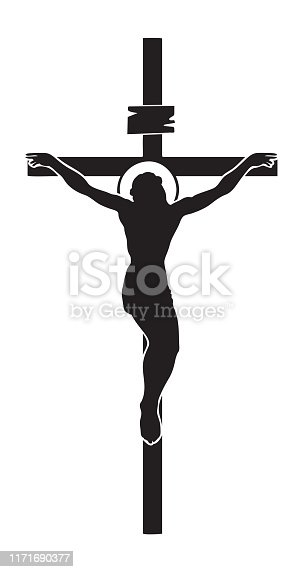 Vector illustration of religious symbol crucifix. Jesus Christ, the Son of God with a halo on his head, a symbol of Christianity. Cross with crucifixion