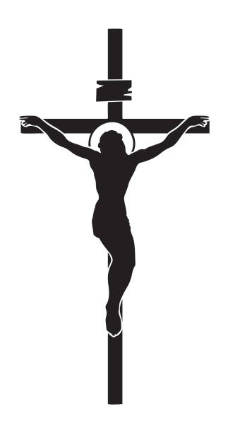 Crucifixion of Jesus Christ, a religious symbol Vector illustration of religious symbol crucifix. Jesus Christ, the Son of God with a halo on his head, a symbol of Christianity. Cross with crucifixion seven deadly sins stock illustrations