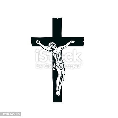 illustration with crucifixion of jesus on cross isolated on white background