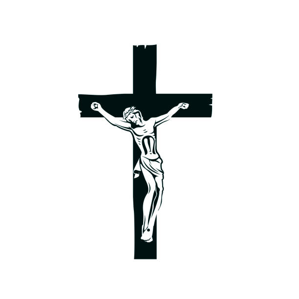 crucifixion of jesus on cross illustration with crucifixion of jesus on cross isolated on white background seven deadly sins stock illustrations