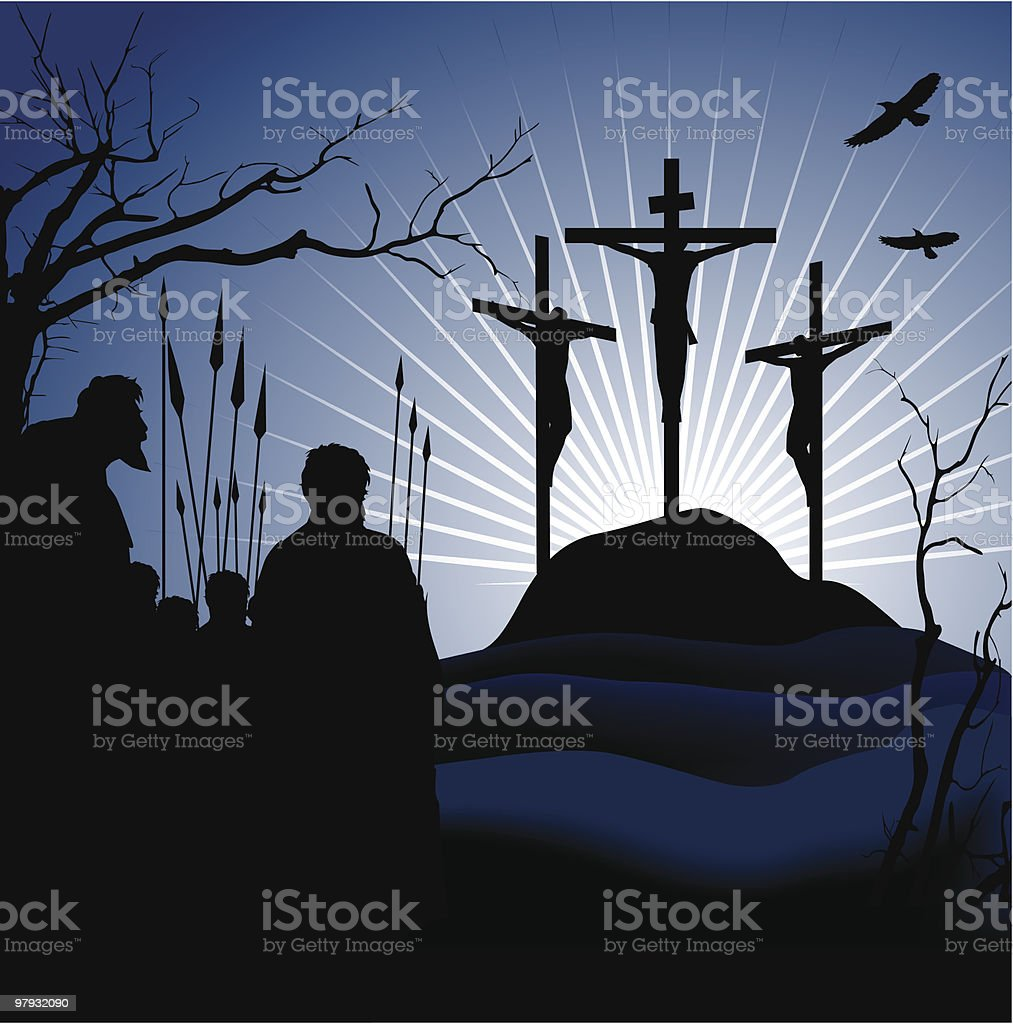 Crucifixion. Silhouettes of the three crosses. royalty-free stock vector art