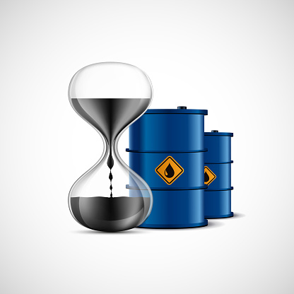 Crude Oil in hourglass. Metal barrels of fuel. Icon isolated on white background. Vector illustration.