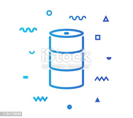 Crude oil outline style icon design with decorations and gradient color. Line vector icon illustration for modern infographics, mobile and web designs.
