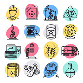 Crude oil and natural gas doodle style concept outline symbols. Line vector icon sets for infographics and web designs.
