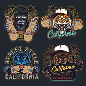 Cruel animals and skateboards colorful emblems