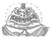 Hand-drawn vector drawing of a Cruel Boss Cartoon Monster. Black-and-White sketch on a transparent background (.eps-file). Included files are EPS (v10) and Hi-Res JPG.