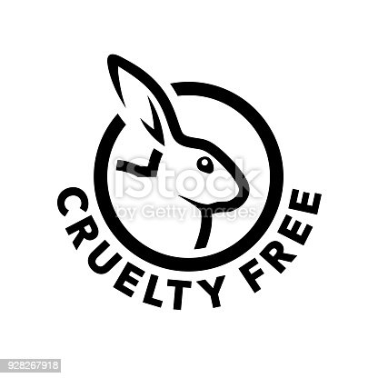 Cruelty free concept icon design with rabbit symbol. Not tested on animals sign. Vector illustration.