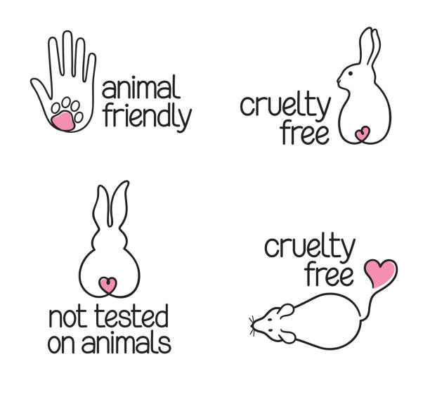 Cruelty Free icons set Set of linear icons for cruelty free concept and not tested on animals products animal testing stock illustrations