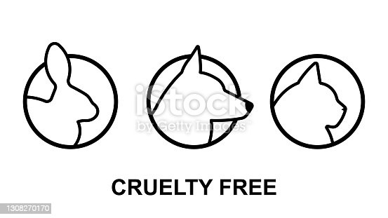 istock Cruelty free icons with animals head - bunny, dog, cat. Not tested on animals. Black icon set. 1308270170