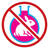 A circular no animal testing sign consisting of a line crossing in front of a rabbit inside a liquid filled flask. Isolated.