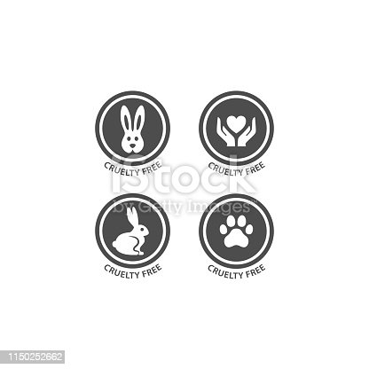 Cruelty free badge with bunny rabbit, dog paw print and hands with heart.