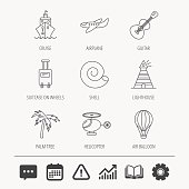 Cruise, airplane and helicopter icons.