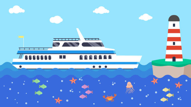 ilustrações de stock, clip art, desenhos animados e ícones de cruise boat in sea near lighthouse, vector illustration. ship travel in cartoon ocean, wave water marine. vacation blue background - embarcação comercial