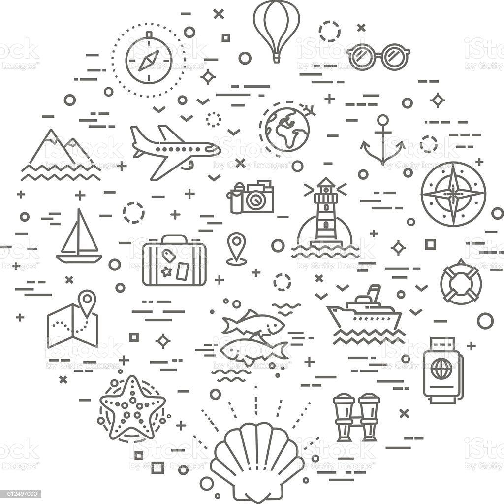 cruise concept illustration,line design vector template vector art illustration