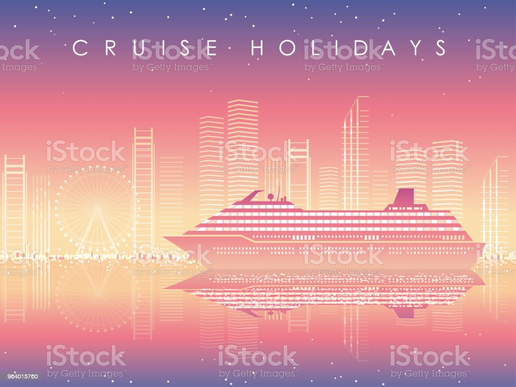 Cruise liner and cityscape at dusk with text space. - Royalty-free Architecture stock vector