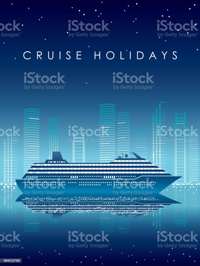 Cruise liner and cityscape at night with text space. - Royalty-free Architecture stock vector
