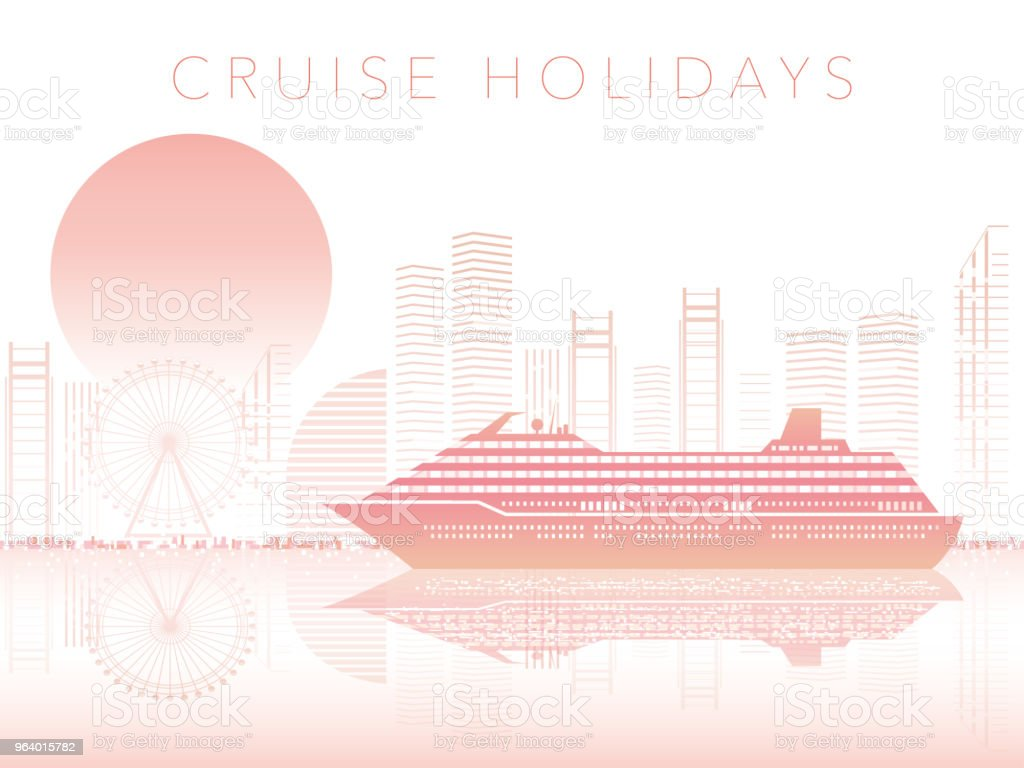 Cruise liner and cityscape with text space. - Royalty-free Architecture stock vector