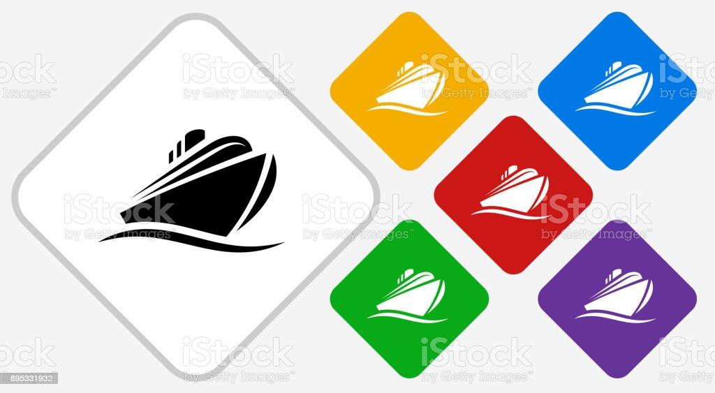 Cruise liner Color Diamond Vector Icon vector art illustration