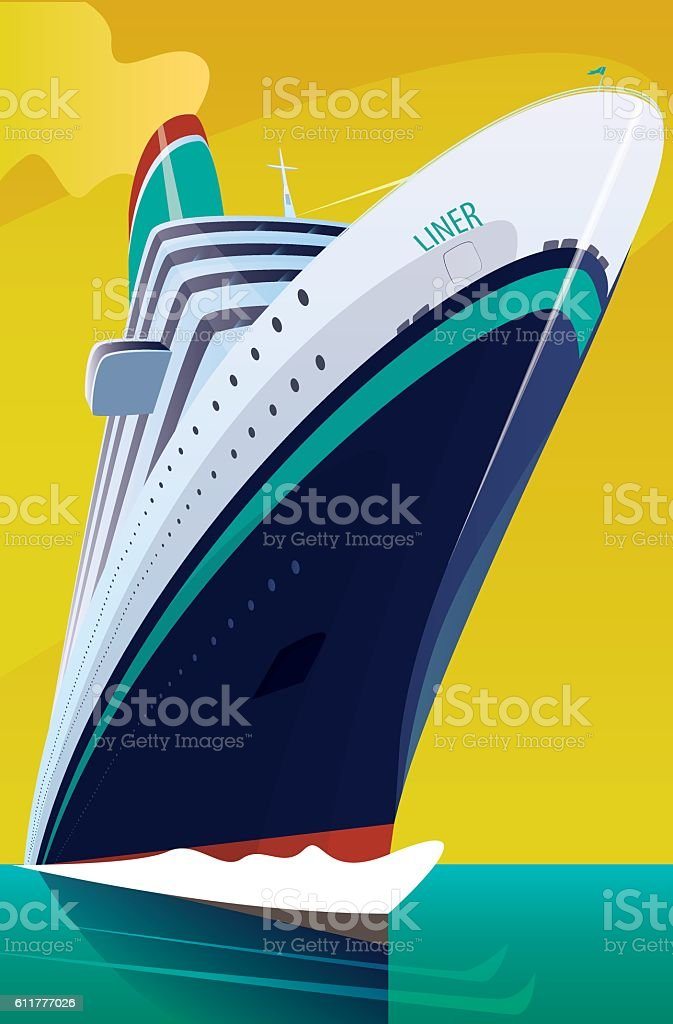 Cruise liner cuts through the waves vector art illustration