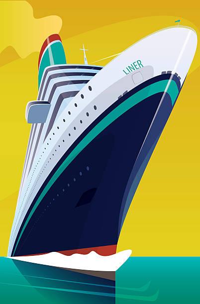illustrations, cliparts, dessins animés et icônes de cruise liner cuts through the waves - croisière