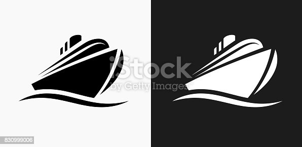 Cruise liner Icon on Black and White Vector Backgrounds. This vector illustration includes two variations of the icon one in black on a light background on the left and another version in white on a dark background positioned on the right. The vector icon is simple yet elegant and can be used in a variety of ways including website or mobile application icon. This royalty free image is 100% vector based and all design elements can be scaled to any size.