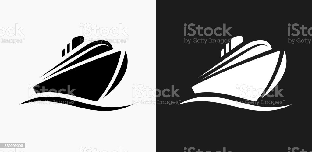 Cruise liner Icon on Black and White Vector Backgrounds vector art illustration