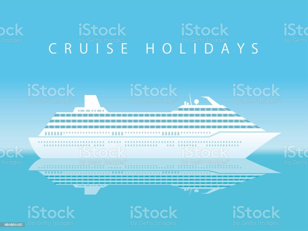 巡航班輪在海與文本空間。 - 免版稅乘客圖庫向量圖形